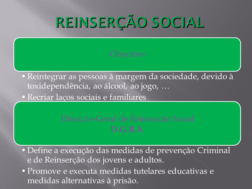 Objectivo Reintegrar as pessoas à margem da sociedade, devido à toxidependência, ao álcool, ao jogo, … Recriar laços sociais e familiares Direcção-Ger