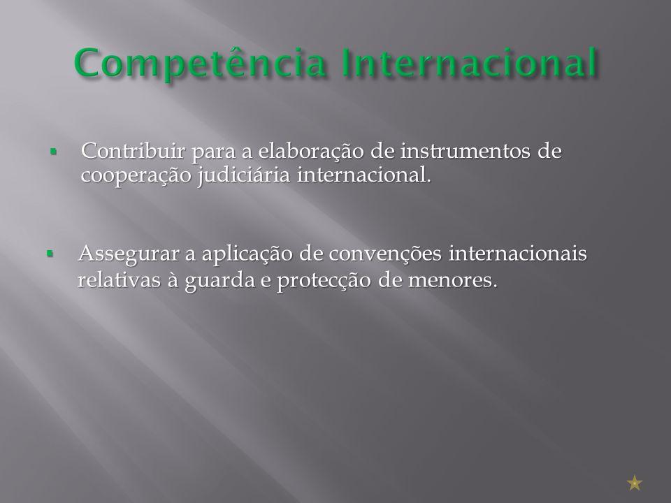 Contribuir para a elaboração de instrumentos de cooperação judiciária internacional. Contribuir para a elaboração de instrumentos de cooperação judici