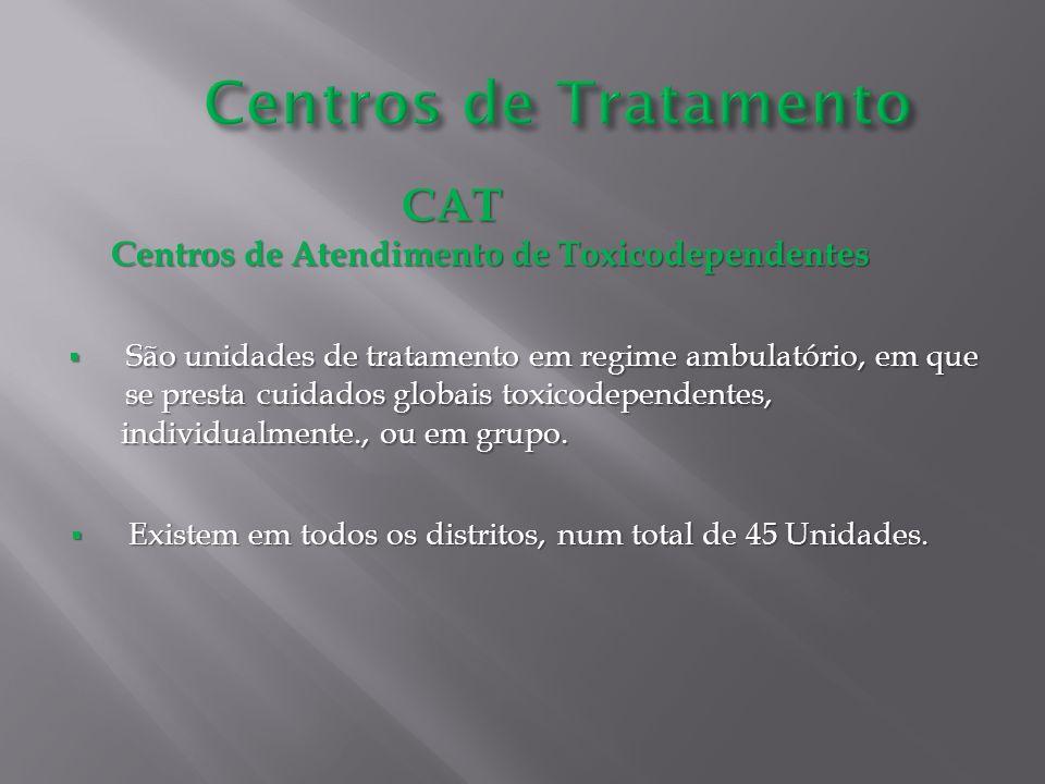 CAT CAT Centros de Atendimento de Toxicodependentes São unidades de tratamento em regime ambulatório, em que se presta cuidados globais toxicodependen