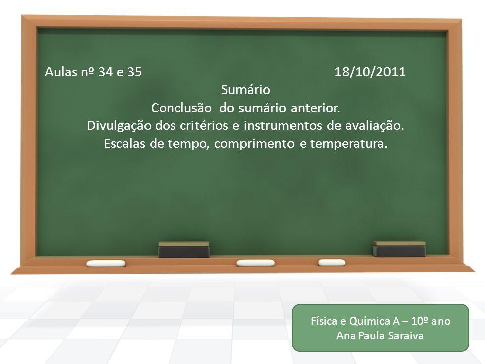 Aulas nº 34 e 35 18/10/2011 Sumário Conclusão do sumário anterior. Divulgação dos critérios e instrumentos de avaliação. Escalas de tempo, comprimento