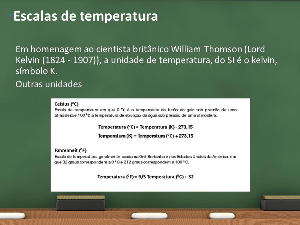 Em homenagem ao cientista britânico William Thomson (Lord Kelvin (1824 - 1907)), a unidade de temperatura, do SI é o kelvin, símbolo K. Outras unidade