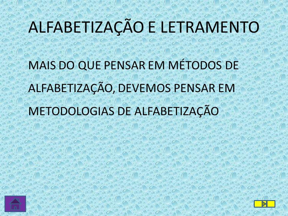MAIS DO QUE PENSAR EM MÉTODOS DE ALFABETIZAÇÃO, DEVEMOS PENSAR EM METODOLOGIAS DE ALFABETIZAÇÃO ALFABETIZAÇÃO E LETRAMENTO