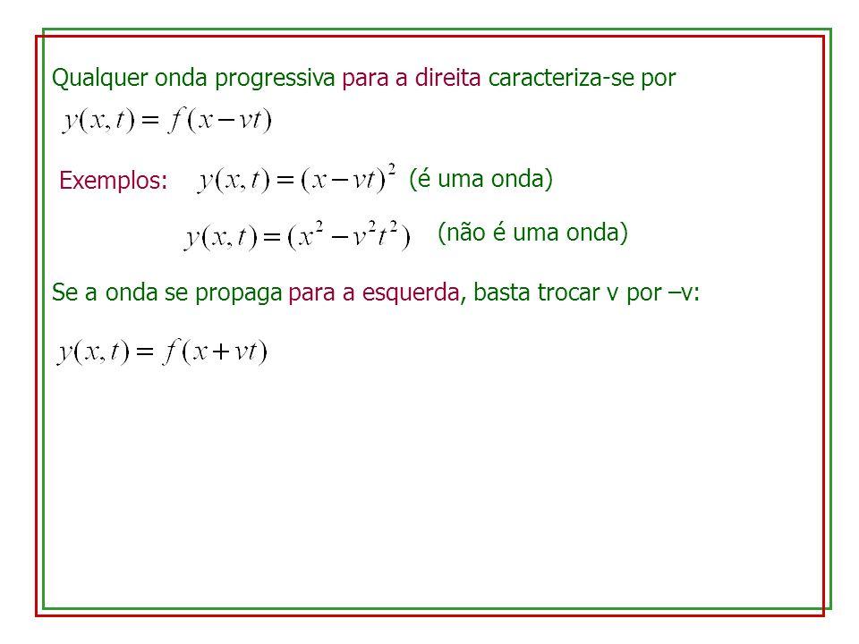 Qualquer onda progressiva para a direita caracteriza-se por Exemplos: (é uma onda) (não é uma onda) Se a onda se propaga para a esquerda, basta trocar v por –v: