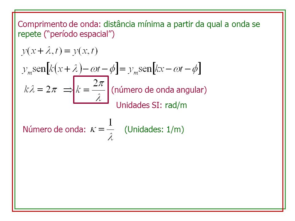Comprimento de onda: distância mínima a partir da qual a onda se repete (período espacial) (número de onda angular) Unidades SI: rad/m Número de onda:
