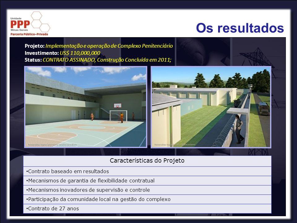 Características do Projeto Contrato baseado em resultados Mecanismos de garantia de flexibilidade contratual Mecanismos inovadores de supervisão e con