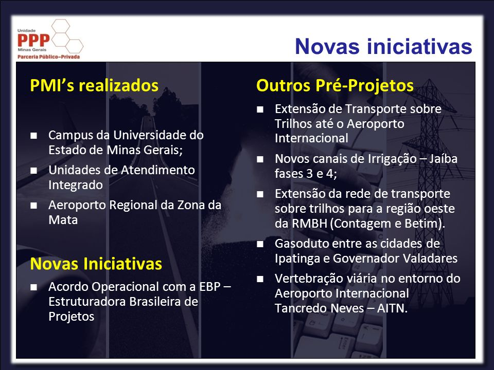 Novas iniciativas PMIs realizados Campus da Universidade do Estado de Minas Gerais; Unidades de Atendimento Integrado Aeroporto Regional da Zona da Ma