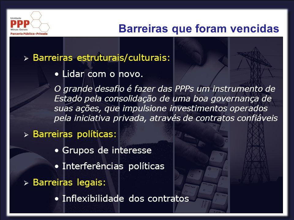Barreiras estruturais/culturais: Lidar com o novo. O grande desafio é fazer das PPPs um instrumento de Estado pela consolidação de uma boa governança