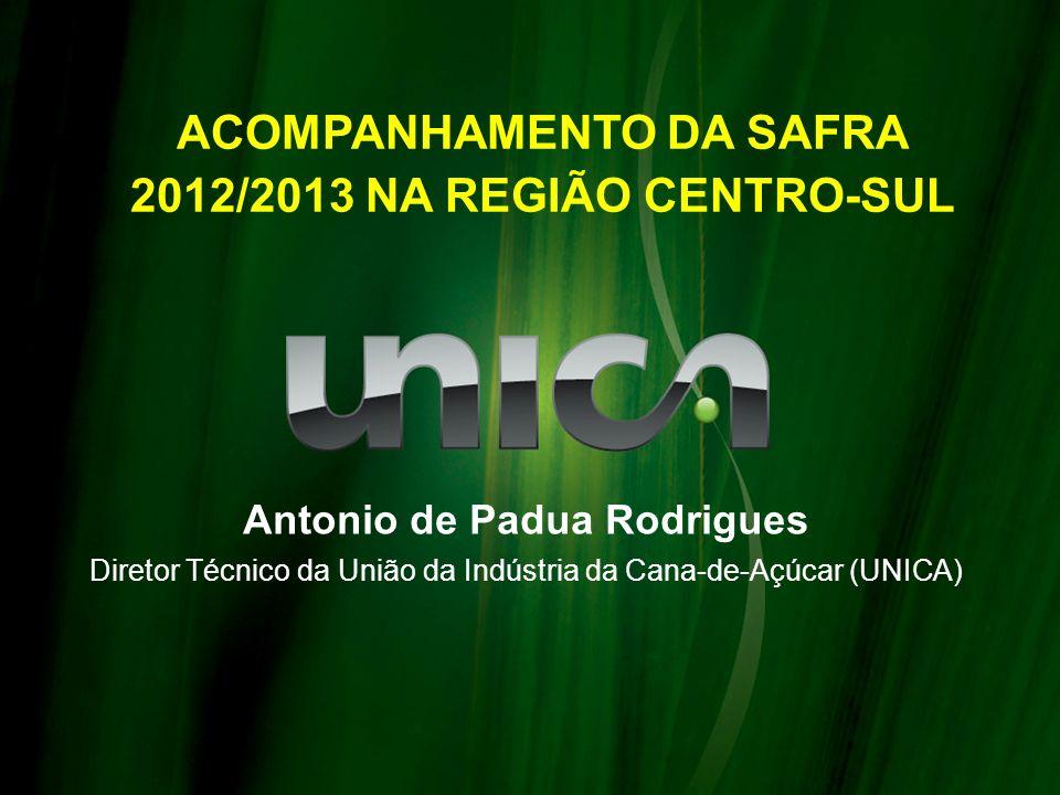 ACOMPANHAMENTO DA SAFRA 2012/2013 NA REGIÃO CENTRO-SUL Antonio de Padua Rodrigues Diretor Técnico da União da Indústria da Cana-de-Açúcar (UNICA)