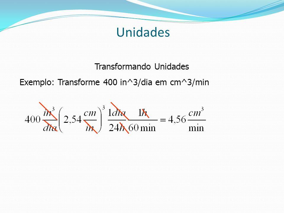 Unidades Transformando Unidades Exemplo: Transforme 400 in^3/dia em cm^3/min