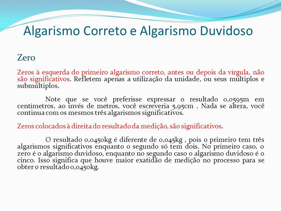 Algarismo Correto e Algarismo Duvidoso Zero Zeros à esquerda do primeiro algarismo correto, antes ou depois da vírgula, não são significativos. Reflet