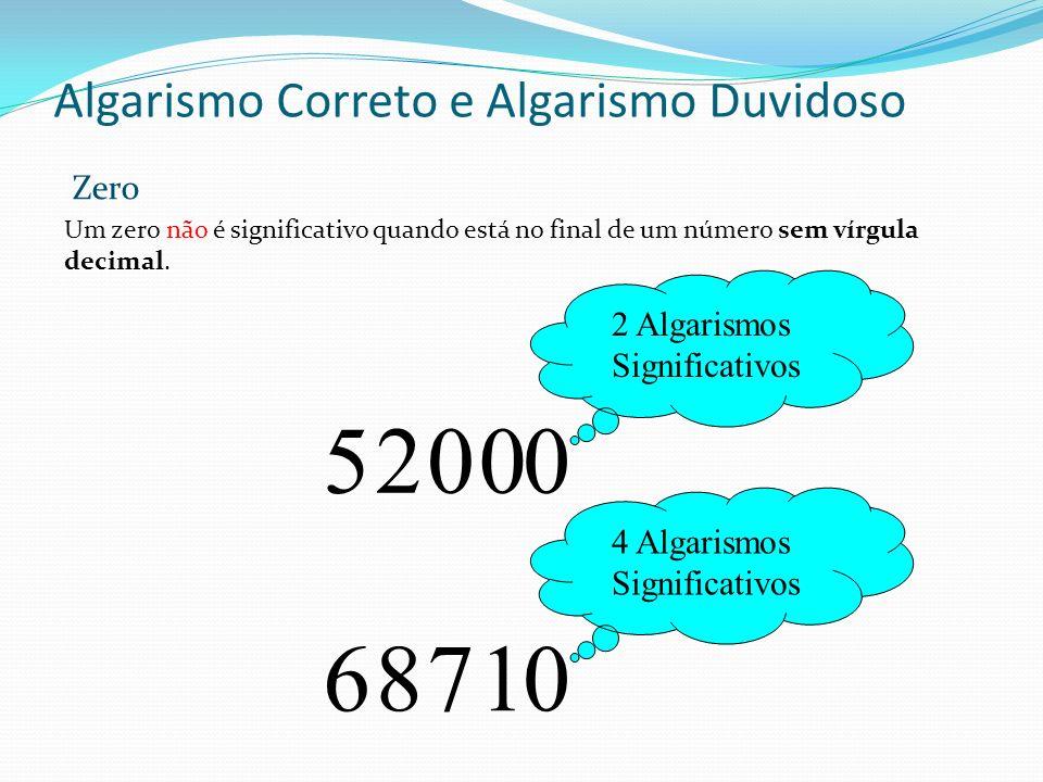 Algarismo Correto e Algarismo Duvidoso Um zero não é significativo quando está no final de um número sem vírgula decimal. 2 Algarismos Significativos