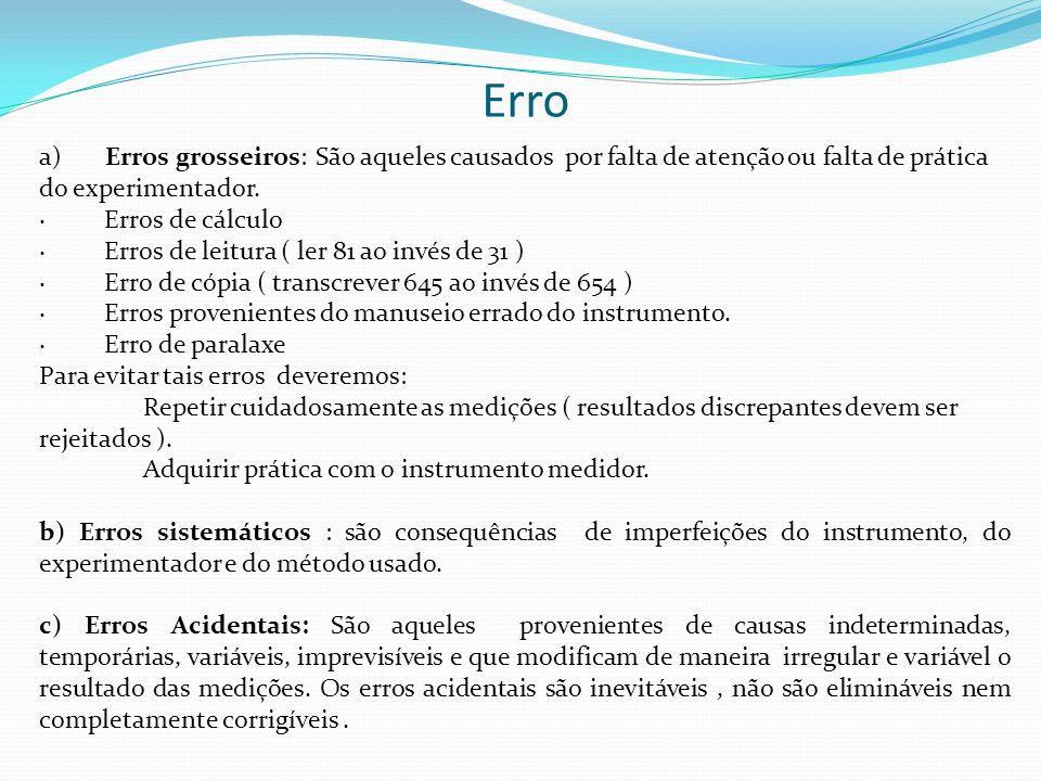 Erro a) Erros grosseiros: São aqueles causados por falta de atenção ou falta de prática do experimentador. · Erros de cálculo · Erros de leitura ( ler
