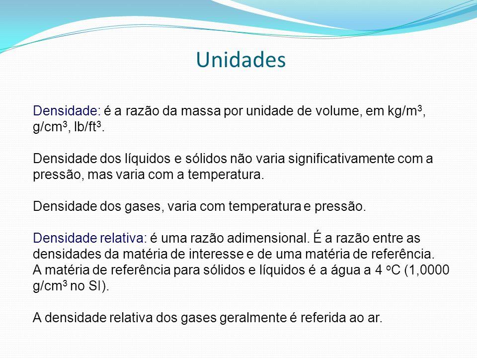 Unidades Densidade: é a razão da massa por unidade de volume, em kg/m 3, g/cm 3, lb/ft 3. Densidade dos líquidos e sólidos não varia significativament