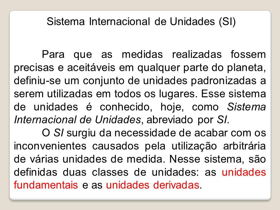 Sistema Internacional de Unidades (SI) Para que as medidas realizadas fossem precisas e aceitáveis em qualquer parte do planeta, definiu-se um conjunt