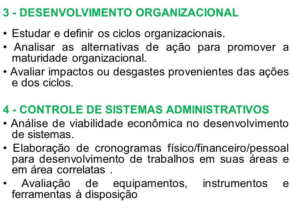 3 - DESENVOLVIMENTO ORGANIZACIONAL Estudar e definir os ciclos organizacionais. Analisar as alternativas de ação para promover a maturidade organizaci