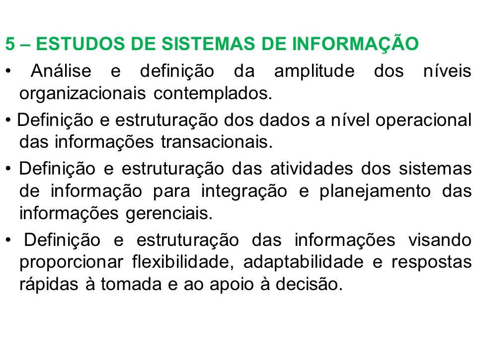 5 – ESTUDOS DE SISTEMAS DE INFORMAÇÃO Análise e definição da amplitude dos níveis organizacionais contemplados. Definição e estruturação dos dados a n