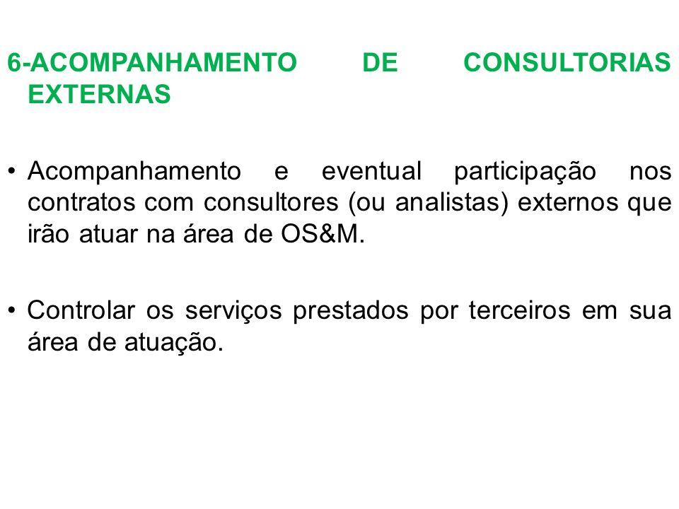 6-ACOMPANHAMENTO DE CONSULTORIAS EXTERNAS Acompanhamento e eventual participação nos contratos com consultores (ou analistas) externos que irão atuar