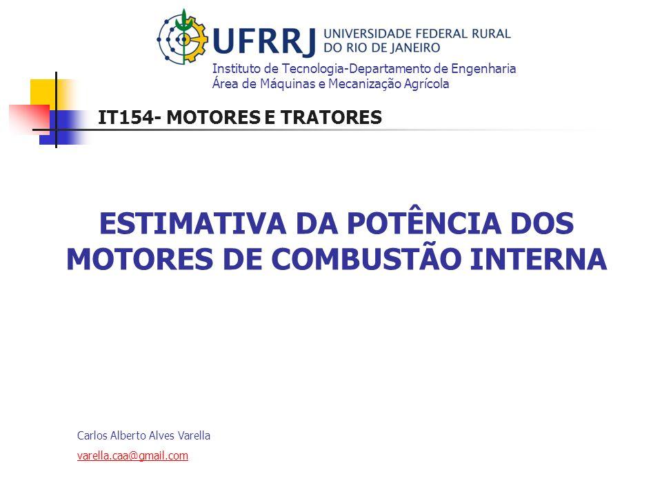 Carlos Alberto Alves Varella varella.caa@gmail.com ESTIMATIVA DA POTÊNCIA DOS MOTORES DE COMBUSTÃO INTERNA Instituto de Tecnologia-Departamento de Eng