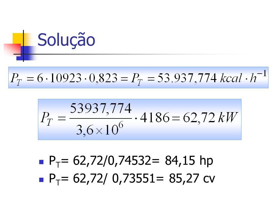 Solução P T = 62,72/0,74532= 84,15 hp P T = 62,72/ 0,73551= 85,27 cv