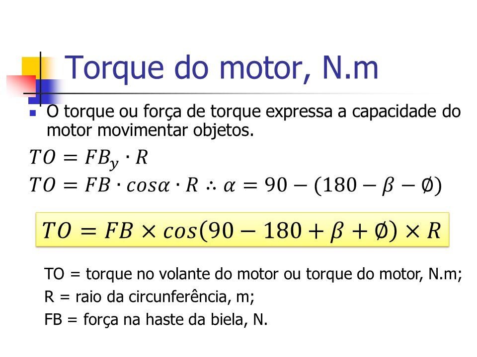 Torque do motor, N.m O torque ou força de torque expressa a capacidade do motor movimentar objetos. TO = torque no volante do motor ou torque do motor
