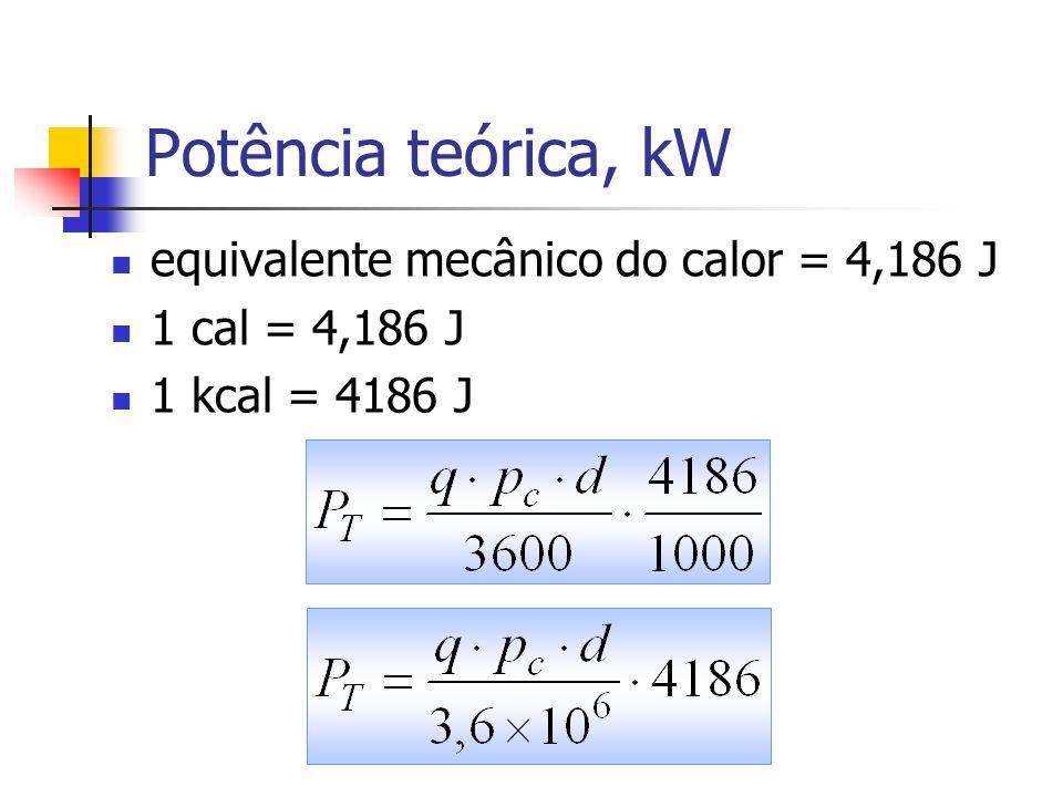 Potência indicada motores 4T, kW P=pressão na expansão, Pa; V cil = volume do cilindro, m 3 ; N= rotação do motor, rps; n= número de cilindros.