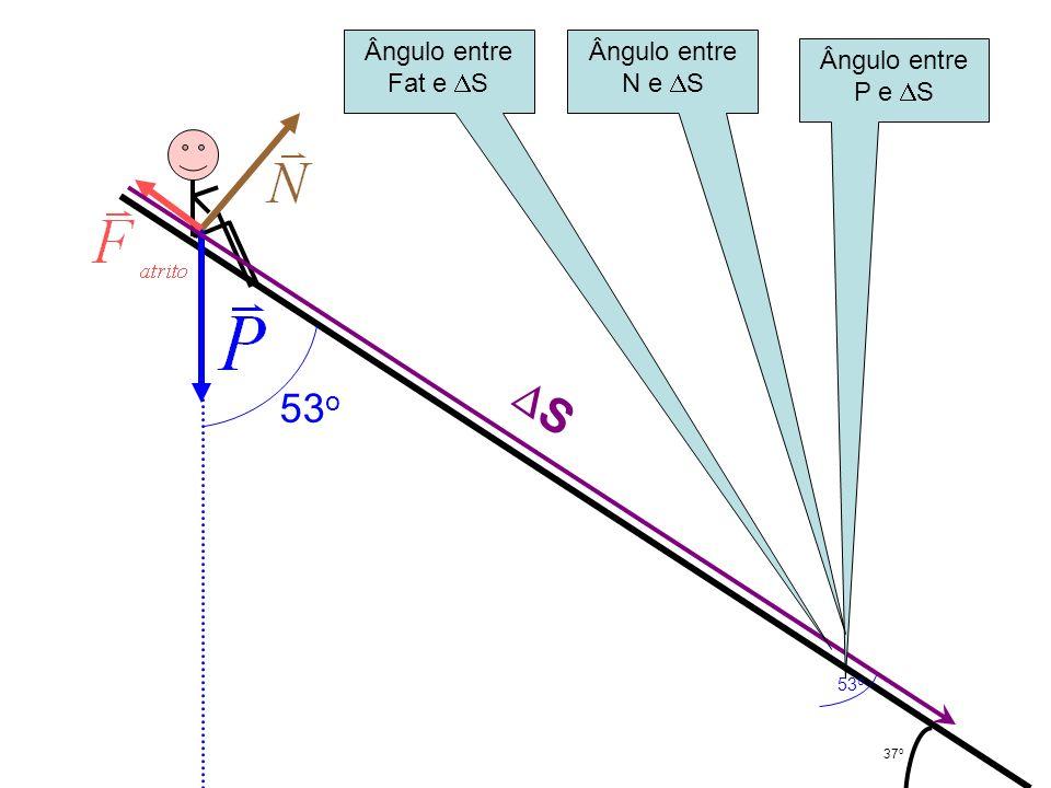 37 o 53 o S Ângulo entre P e S Ângulo entre N e S Ângulo entre Fat e S