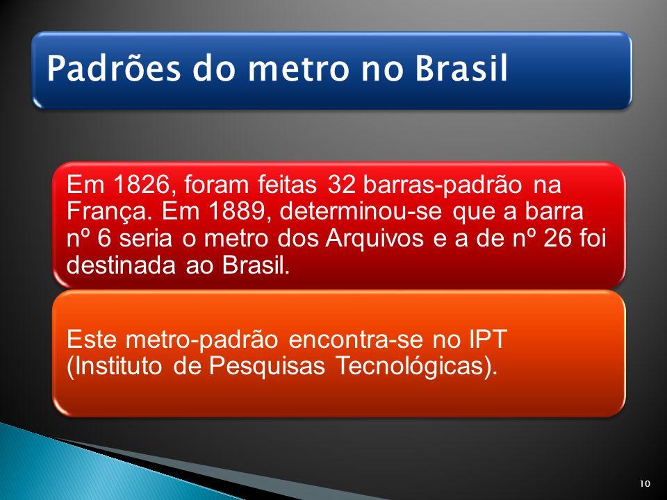 Padrões do metro no Brasil Em 1826, foram feitas 32 barras-padrão na França. Em 1889, determinou-se que a barra nº 6 seria o metro dos Arquivos e a de