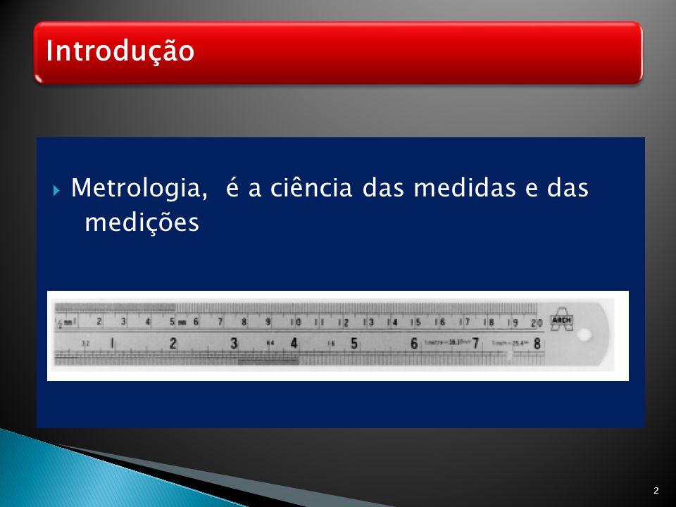 Introdução Metrologia, é a ciência das medidas e das medições 2