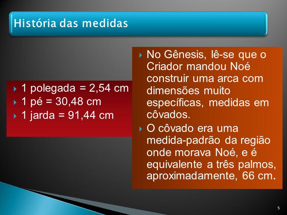 1 polegada = 2,54 cm 1 pé = 30,48 cm 1 jarda = 91,44 cm No Gênesis, lê-se que o Criador mandou Noé construir uma arca com dimensões muito específicas,