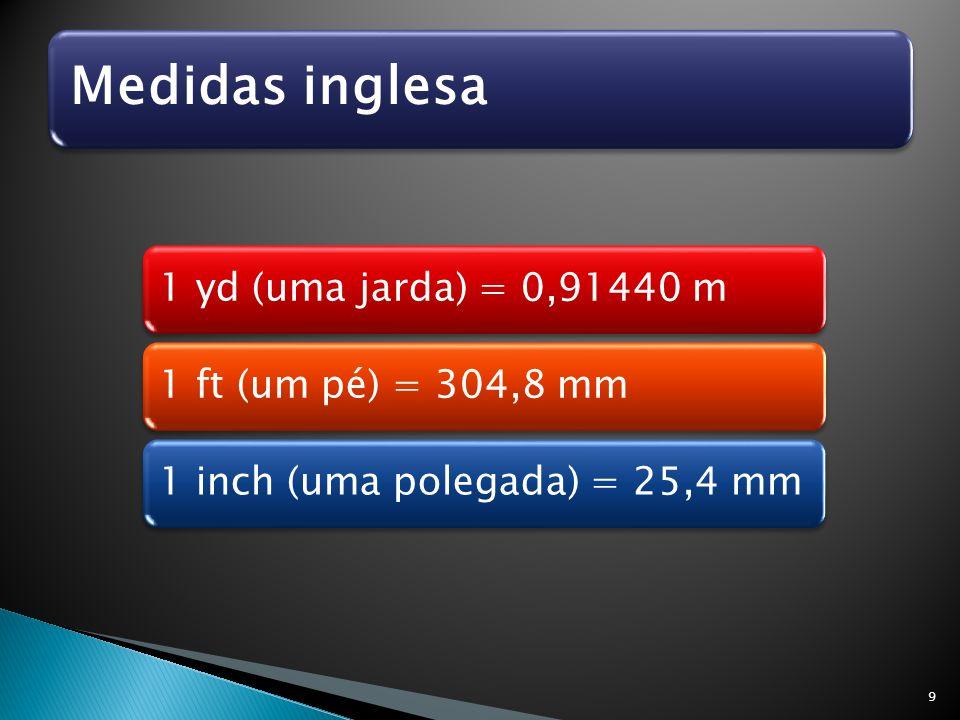 Medidas inglesa 1 yd (uma jarda) = 0,91440 m1 ft (um pé) = 304,8 mm1 inch (uma polegada) = 25,4 mm 9