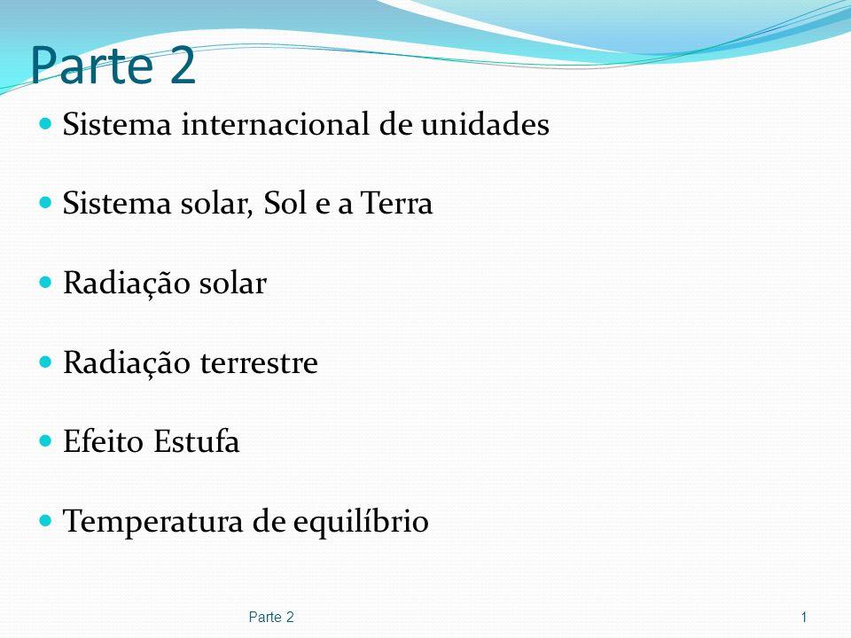 Parte 2 Sistema internacional de unidades Sistema solar, Sol e a Terra Radiação solar Radiação terrestre Efeito Estufa Temperatura de equilíbrio Parte