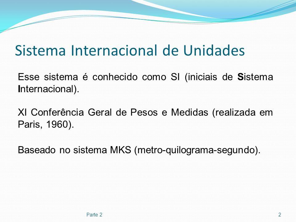 Sistema Internacional de Unidades Parte 22 Esse sistema é conhecido como SI (iniciais de Sistema Internacional). XI Conferência Geral de Pesos e Medid