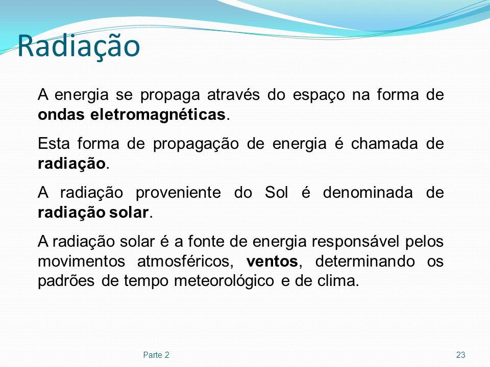 Radiação Parte 223 A energia se propaga através do espaço na forma de ondas eletromagnéticas. Esta forma de propagação de energia é chamada de radiaçã