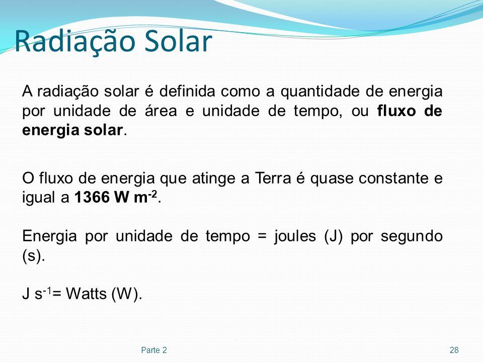 Radiação Solar Parte 228 A radiação solar é definida como a quantidade de energia por unidade de área e unidade de tempo, ou fluxo de energia solar. O