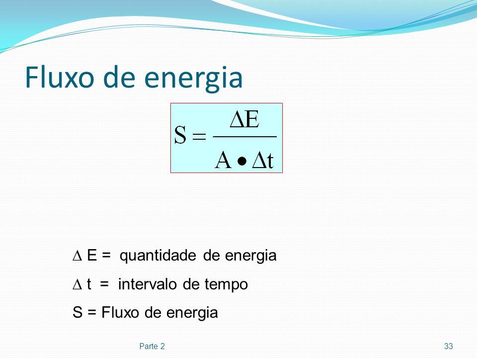 Fluxo de energia Parte 233 E = quantidade de energia t = intervalo de tempo S = Fluxo de energia