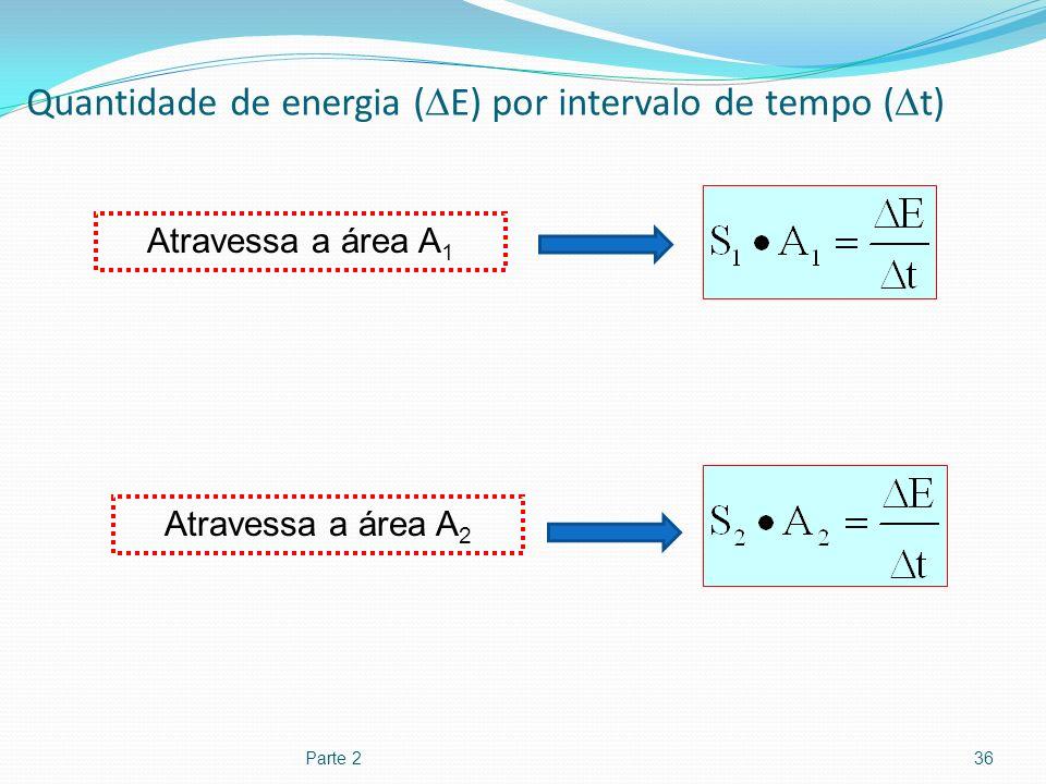 Quantidade de energia ( E) por intervalo de tempo ( t) Parte 236 Atravessa a área A 1 Atravessa a área A 2