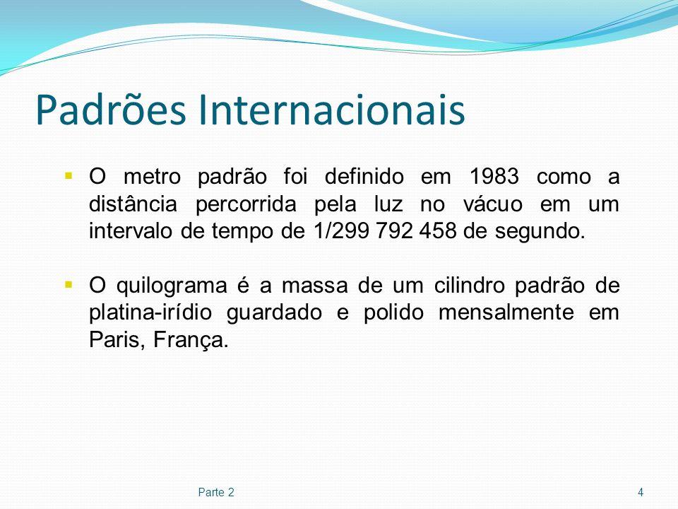 Padrões Internacionais Parte 24 O metro padrão foi definido em 1983 como a distância percorrida pela luz no vácuo em um intervalo de tempo de 1/299 79