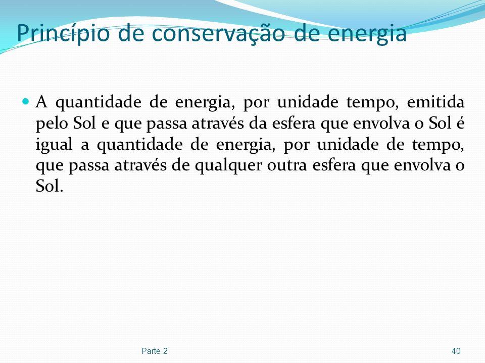 Princípio de conservação de energia A quantidade de energia, por unidade tempo, emitida pelo Sol e que passa através da esfera que envolva o Sol é igu