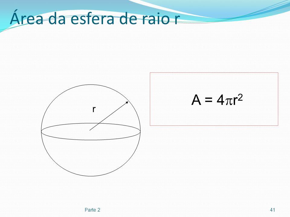 Área da esfera de raio r Parte 241 r A = 4 r 2