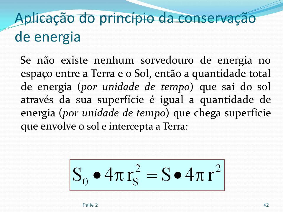Aplicação do princípio da conservação de energia Se não existe nenhum sorvedouro de energia no espaço entre a Terra e o Sol, então a quantidade total