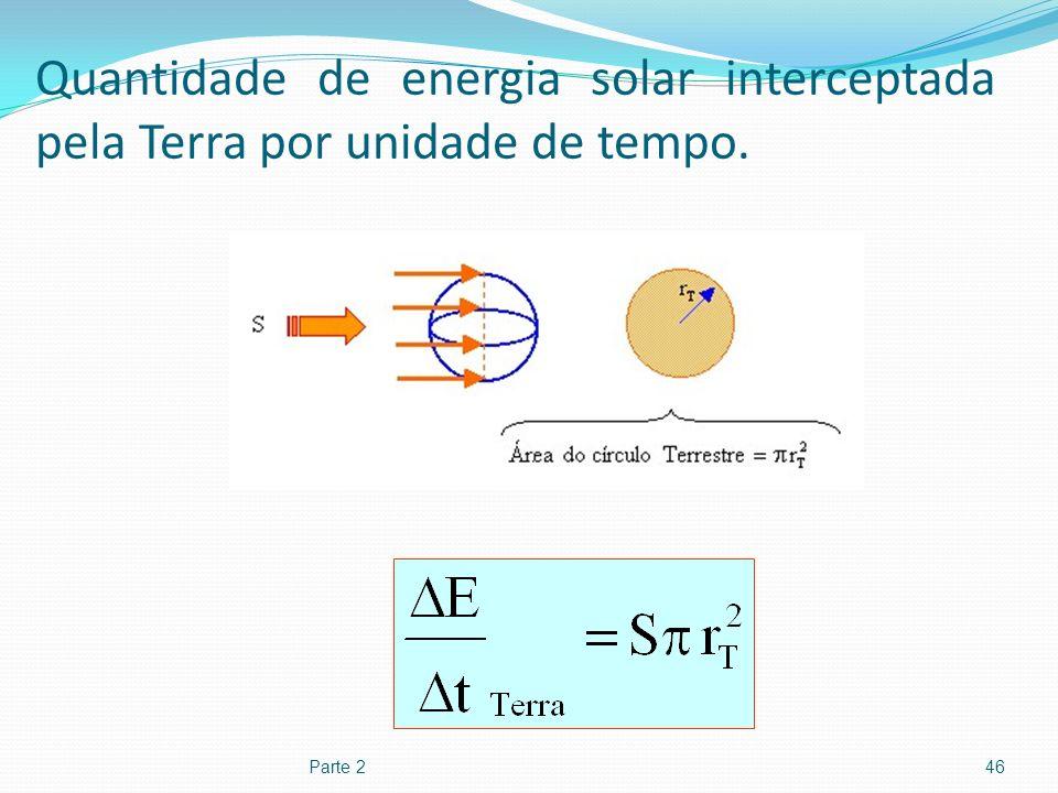 Quantidade de energia solar interceptada pela Terra por unidade de tempo. Parte 246