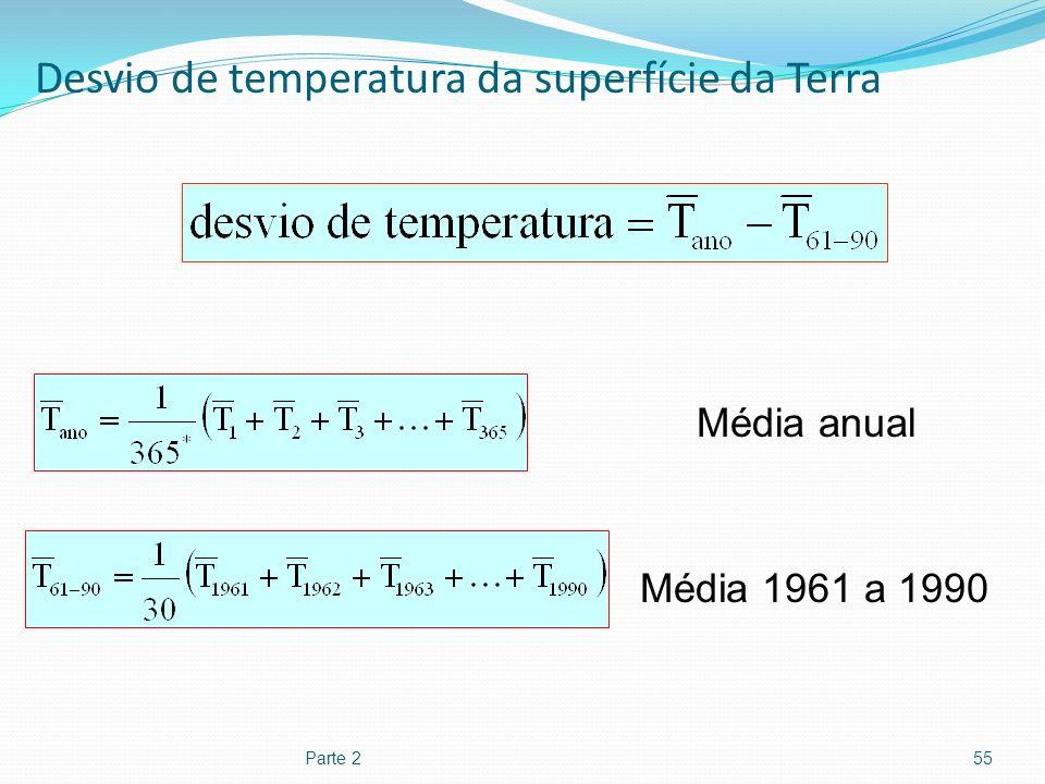 Desvio de temperatura da superfície da Terra Parte 255 Média anual Média 1961 a 1990