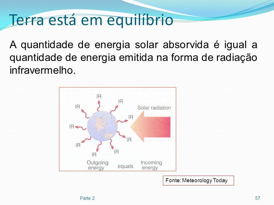Terra está em equilíbrio Parte 257 A quantidade de energia solar absorvida é igual a quantidade de energia emitida na forma de radiação infravermelho.