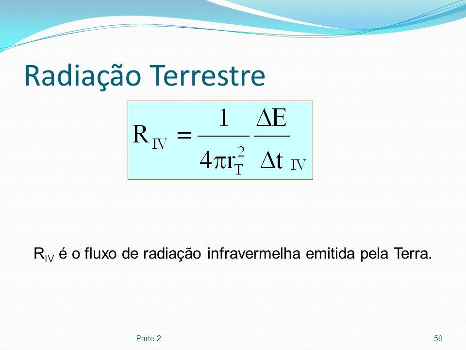 Radiação Terrestre Parte 259 R IV é o fluxo de radiação infravermelha emitida pela Terra.