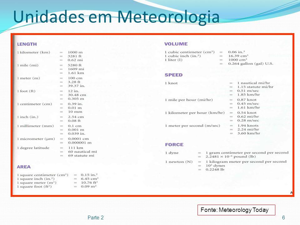 Unidades em Meteorologia Parte 27 Fonte: Meteorology Today