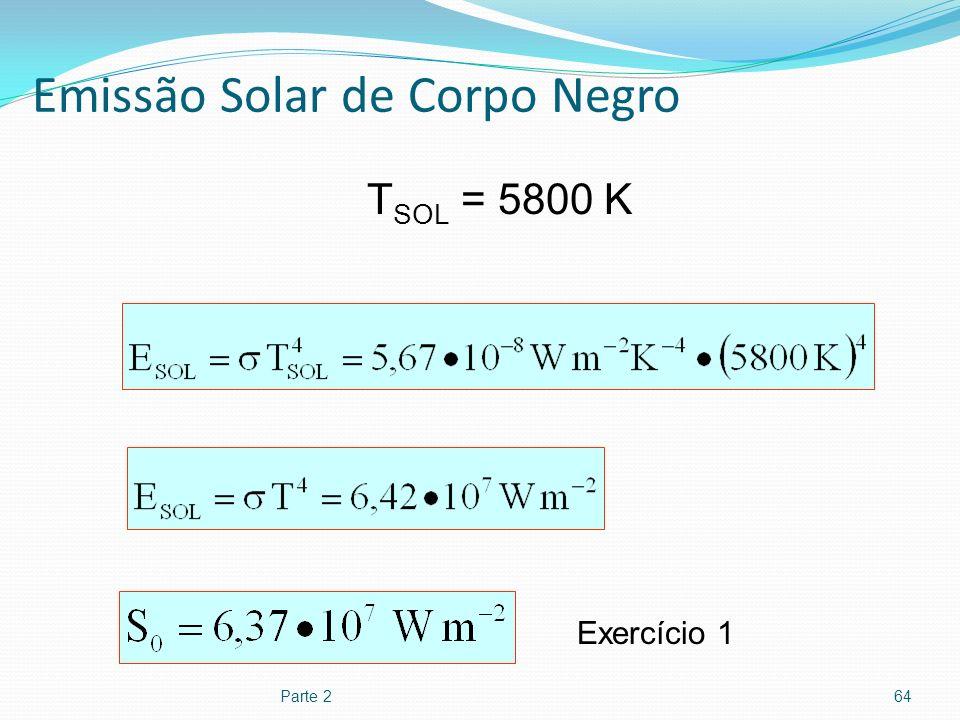 Emissão Solar de Corpo Negro Parte 264 T SOL = 5800 K Exercício 1