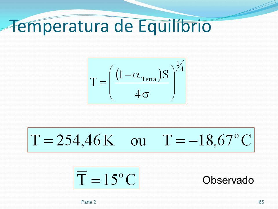 Temperatura de Equilíbrio Parte 265 Observado