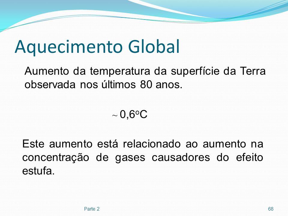 Aquecimento Global Parte 268 Aumento da temperatura da superfície da Terra observada nos últimos 80 anos. ~ 0,6 o C Este aumento está relacionado ao a