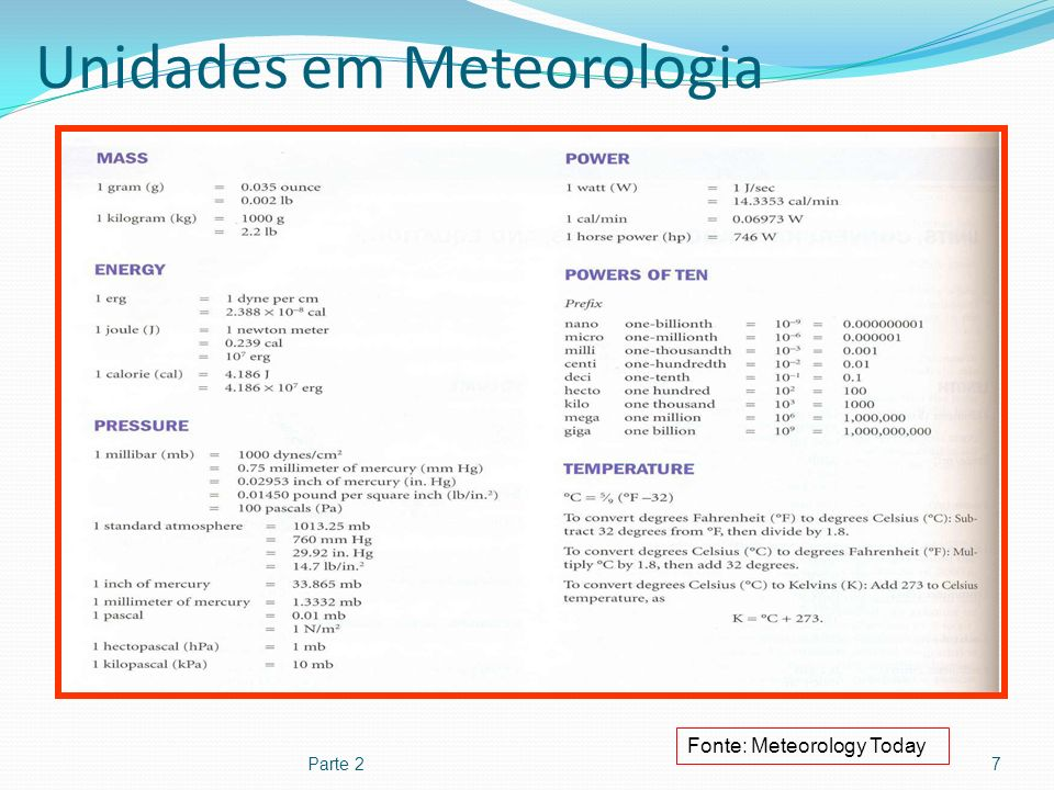Unidades em Meteorologia Parte 27 Fonte: Meteorology Today