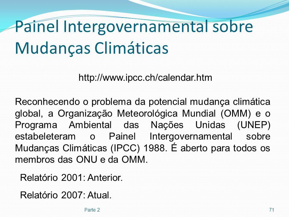 Painel Intergovernamental sobre Mudanças Climáticas Parte 271 http://www.ipcc.ch/calendar.htm Reconhecendo o problema da potencial mudança climática g